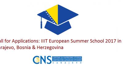 """Повик за апликации: """"IIIT"""" Европска летна школа 2017 година во Сараево, Босна и Херцеговина"""