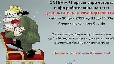 """Работилница за млади карикатуристи """"Доза на сатира за здрава демократија"""""""