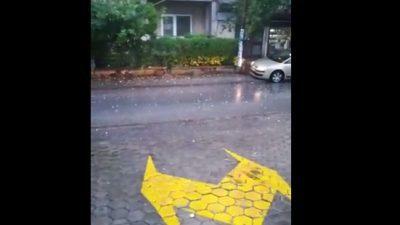 ВИДЕО: Во Скопје падна град со големина на орев
