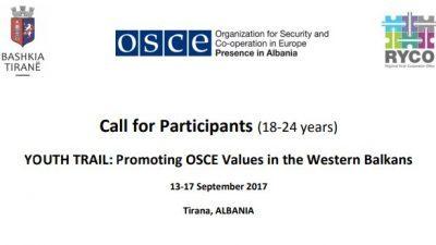 """Повик за аплицирање, """"МЛАДИНСКИ ПАТ: Промовирање на вредностите на ОБСЕ во Западен Балкан"""""""
