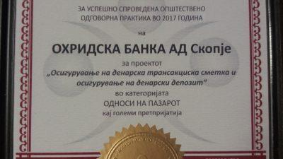"""Охридска банка Сосиете Женерал добитник на признание за oпштествена одговорност во категоријата """"Односи на пазарот"""""""