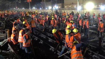 Видео: Кинески работници за 9  часа изградија железничка станица