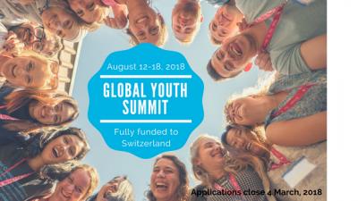 Повик за апликации, Глобален младински самит на глобалните промени во 2018 година во Швајцарија