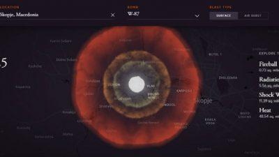 Интерактивна мапа покажува што ќе се случи ако во вашиот град падне нуклеарна бомба