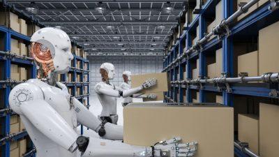 """Патент на """"Амазон"""": Луѓето ќе се движат во кафези за да бидат безбедни од роботите!"""