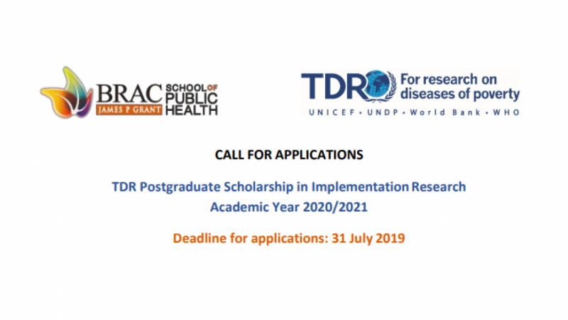 TDR POSTGRADUATE SCHOLARSHIP IN IMPLEMENTATION RESEARCH