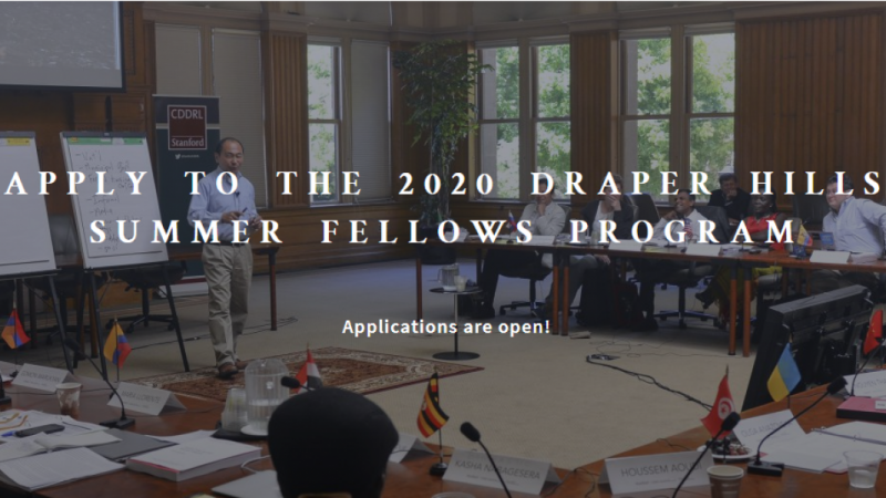 Apply to the 2020 draper hills summer fellows program