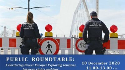 Save the date: Тркалезна маса на тема 'A Bordering Power Europe? Exploring tensions between rights and fear', 10.12.2020, 11 p.m. (MS Teams)
