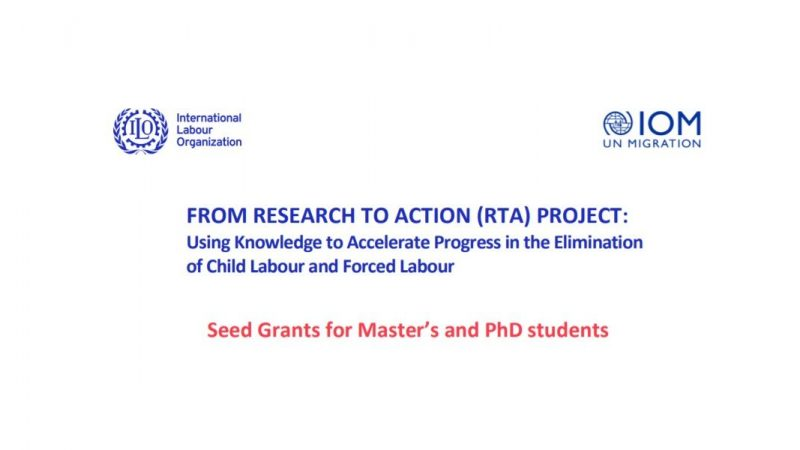 ILO RTA Project Seed Grants for Masters and PhD Students 2021